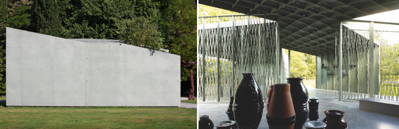 Außenansicht und Innenraumperspektive des Ausstellungspavillon  im Middelheim Skulpturenpark