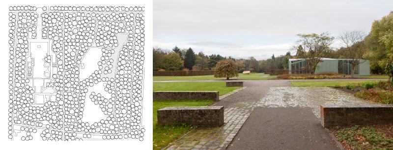 Lageplan und Bild des Ausstellungspavillon  im Middelheim Skulpturenpark