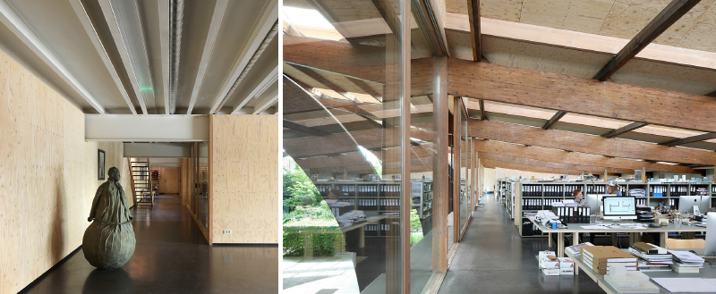 Die Kunstwerke und Skulpturen im Büro inspirieren den Architekten
