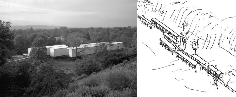 """Bild und Skizze """"Aue-Pavillons"""" der Documenta IX in Kassel"""