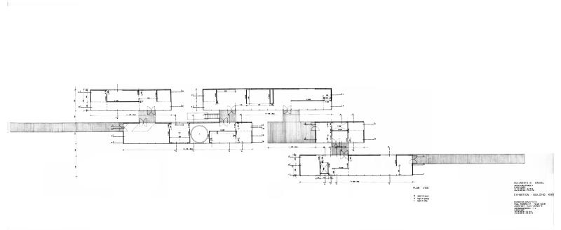 "Grundriss ""Aue-Pavillons"" der Documenta IX in Kassel"