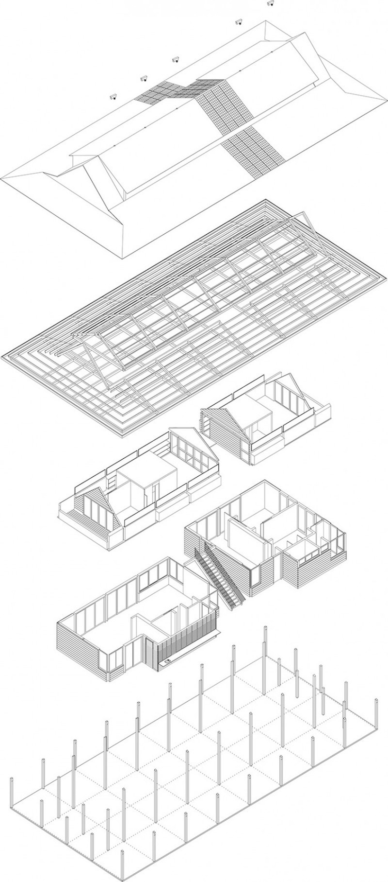 Baldwin House – Axonometrie © David Leclerc Architecture