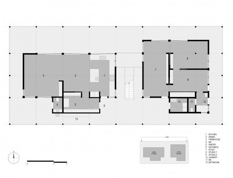 Baldwin House – Grundriss © David Leclerc Architecture