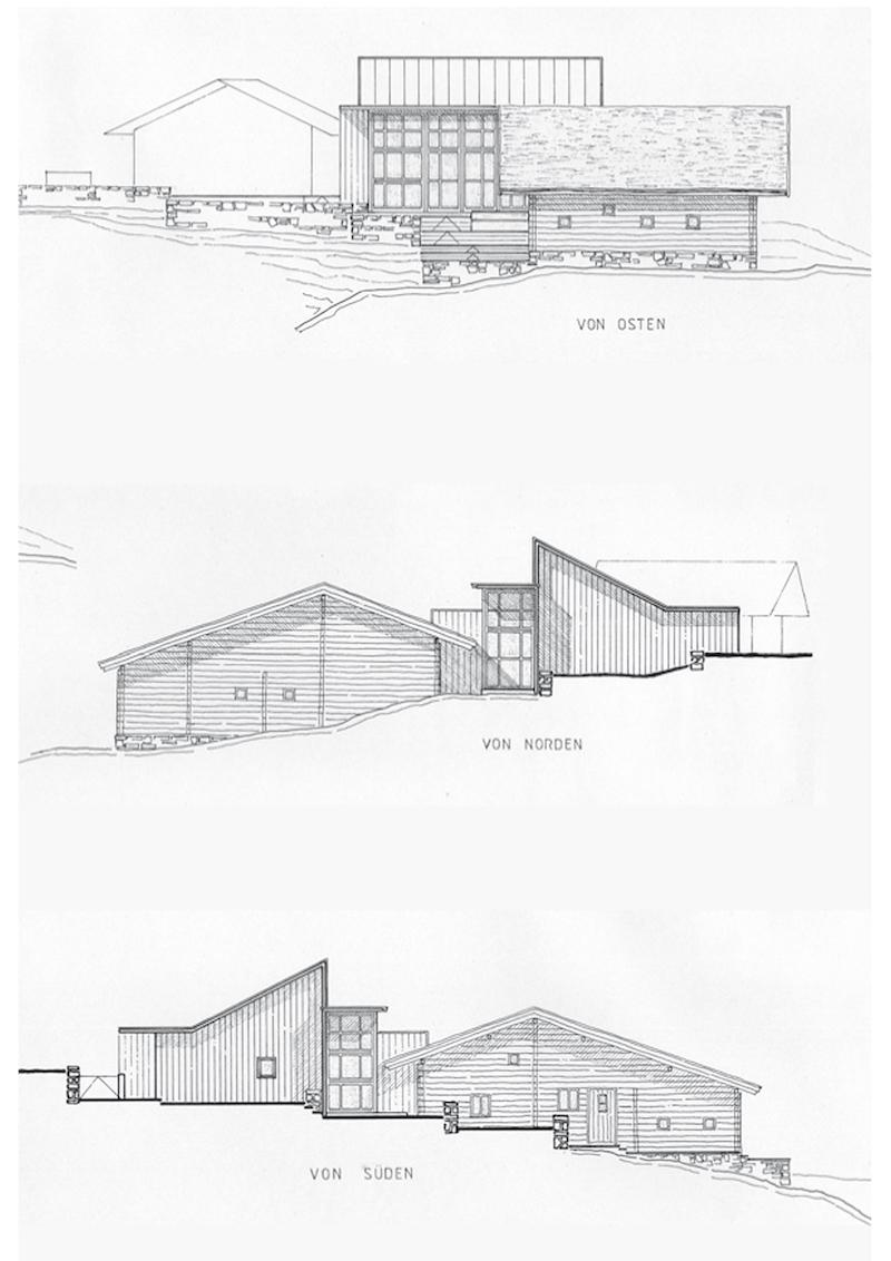 Bauliche Ergänzung einer historischen Almhütte – Ansichtszeichnungen   © Hermann Holzknecht