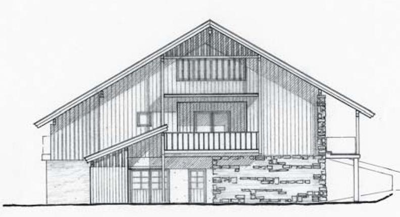 Umbau eines Bauernhauses – Ansichtszeichnung   © Hermann Holzknecht
